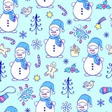 Seamless pattern with  snowmen. Seamless pattern with hand drawn  snowmen on blue background Stock Photo