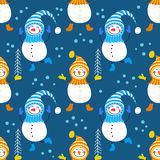 A seamless pattern of snowmen. And snowflakes Stock Image