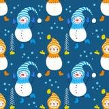A seamless pattern of snowmen Stock Image