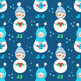 A seamless pattern of snowmen Stock Image