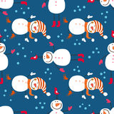 A seamless pattern of snowmen Stock Photography