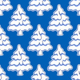 Seamless pattern of snowy Christmas tree Stock Photo