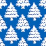Seamless pattern of snowy Christmas tree Stock Photo