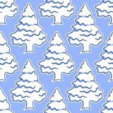 Seamless pattern of snowy covered trees Stock Photo