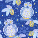 Seamless pattern with snowy owls Stock Image