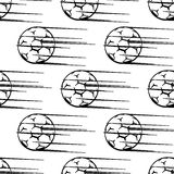 Seamless pattern of soccer balls or footballs with Stock Photo