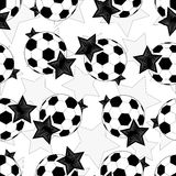 Seamless pattern of soccer balls and stars.Vector Royalty Free Stock Photo