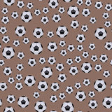 Seamless pattern with soccer balls vector hexagon symbol game tile sport shape backdrop illustration. Royalty Free Stock Photo