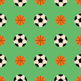 Seamless pattern with soccer balls vector hexagon symbol sport game tile basketball sport shape backdrop illustration. Royalty Free Stock Photography