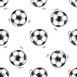 Seamless pattern with soccer balls Stock Photo