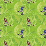 Seamless pattern with soccer players Stock Image