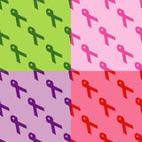 Seamless Pattern: Social Awareness Ribbons Stock Images