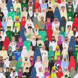 Seamless pattern social concept. Large group muslim arabic people professions occupation standing together in different suit and t Royalty Free Stock Images