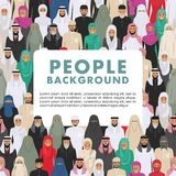 Seamless pattern social concept of people communication in flat style. Group young and old muslim people standing Stock Photography