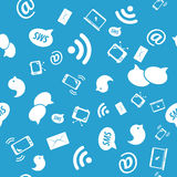 Seamless pattern of social icons, blue color Stock Photos