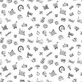 Seamless pattern with Social media business doodles. Items. Hand drawn design elements. Vector illustration Stock Images