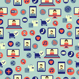 Seamless pattern with social media equipment. Stock Photography