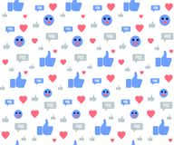 Seamless Pattern with Social Media Icons on White vector illustration