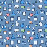 Seamless pattern with social media icons. Illustration Royalty Free Stock Photo