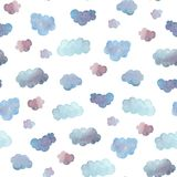 Seamless pattern of soft blue clouds painted in watercolor. Isolated on white. stock images