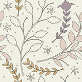 Seamless  pattern with soulful colorful plants on ivory backgrou. Nd can be used for wallpapers, surface textures, textile,linen, kids cloth, pattern fills, page Royalty Free Stock Photography