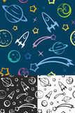 Seamless pattern Space. Easy editable seamless pattern with planets and stars Stock Image
