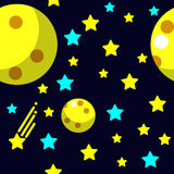 Seamless pattern with space, comet, stars and moon Royalty Free Stock Photos