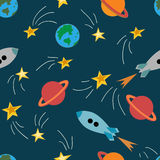 Seamless pattern with space elements. Seamless pattern with rockets and stars. Decorative background vector illustration