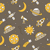 Seamless pattern of space icons Royalty Free Stock Photography