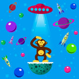 Seamless pattern space monkey. UFO, planets and space rockets Royalty Free Stock Images