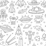 Seamless pattern with space objects, ufo, rockets, aliens. Hand-drawn elements in space theme Stock Images