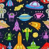 Seamless pattern with space objects - ufo, rockets, aliens. Hand-drawn elements in space theme Royalty Free Stock Images