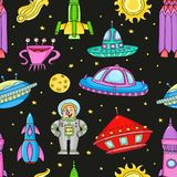 Seamless pattern with space objects - ufo, rockets, aliens. Hand-drawn elements in space theme Royalty Free Stock Photo