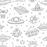 Seamless pattern with space objects, ufo, rockets, aliens. Hand-drawn elements in space theme Royalty Free Stock Images