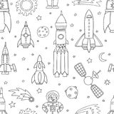 Seamless pattern with space objects, ufo, rockets, aliens. Hand-drawn elements in space theme Royalty Free Stock Image