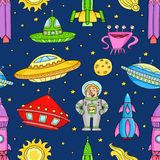 Seamless pattern with space objects. Ufo, rockets, aliens. Hand-drawn elements in space theme Royalty Free Stock Photo