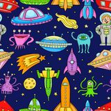 Seamless pattern with space objects - ufo, rockets, aliens. Hand-drawn elements in space theme Stock Photo
