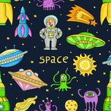 Seamless pattern with space objects - ufo, rockets, aliens. Hand-drawn elements in space theme Stock Image