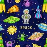 Seamless pattern with space objects - ufo, rockets, aliens. Hand-drawn elements in space theme Royalty Free Stock Image