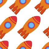 Seamless pattern with space rocket Royalty Free Stock Image