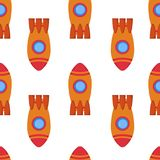 Seamless pattern with space rocket Royalty Free Stock Images