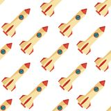 Seamless pattern with space rocket. Royalty Free Stock Photo