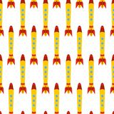Seamless pattern with space rocket Stock Image