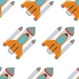 Seamless pattern with space rocket Royalty Free Stock Photo