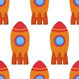 Seamless pattern with space rocket. Royalty Free Stock Photos