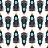 Seamless pattern with space rocket. Stock Photo