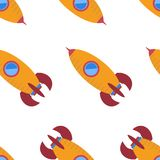 Seamless pattern with space rocket Royalty Free Stock Photography