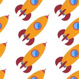 Seamless pattern with space rocket Stock Images