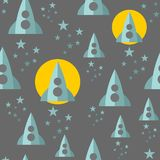 Seamless pattern with space ship. Stock Photos