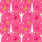 Seamless pattern of space and stars. Kid's background. Royalty Free Stock Images